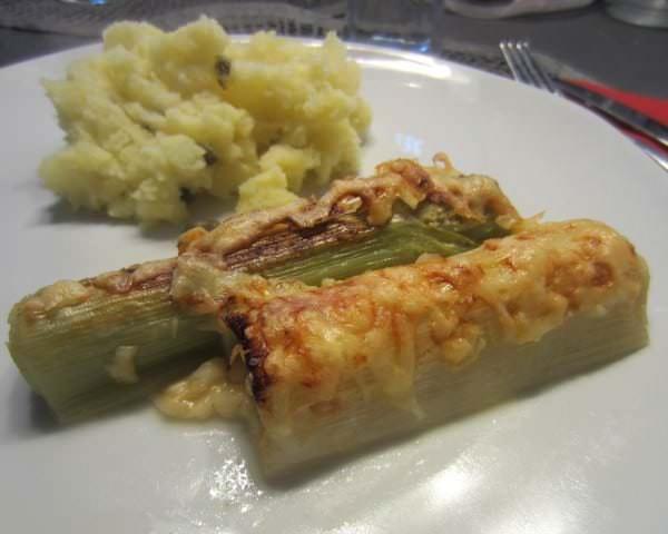 Porree überbacken und Kartoffelpüree
