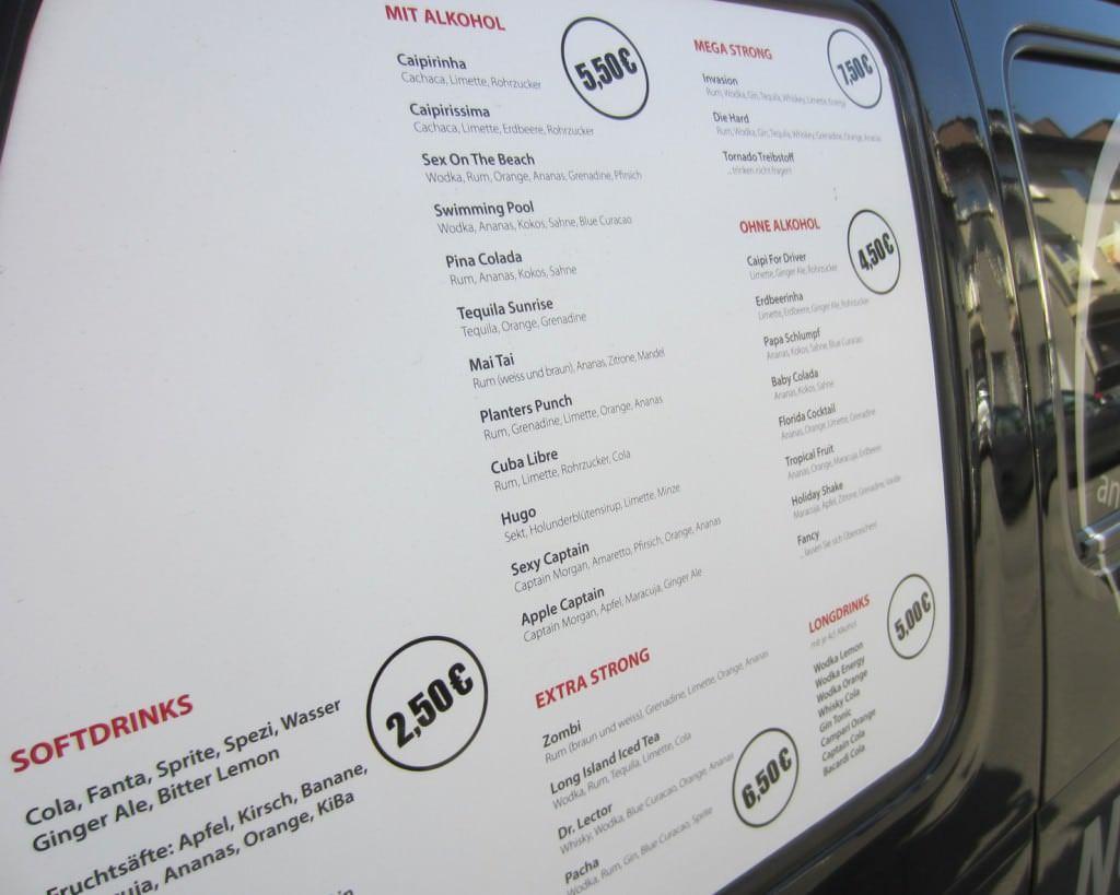 Cocktail Taxi Preisliste
