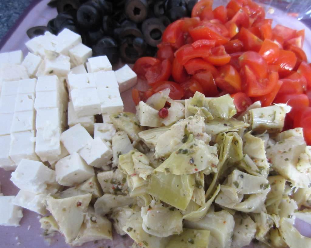 Paprikaschiffchen Zutaten geschnitten